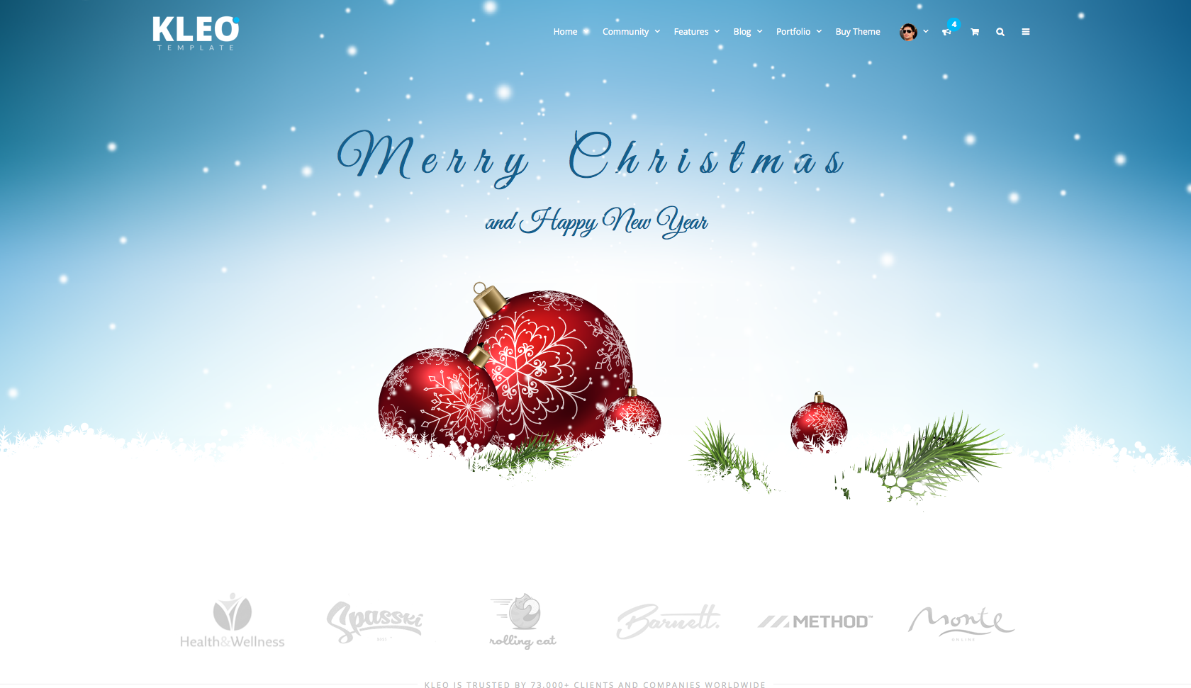 merry christmas and a happy new year kleo wordpress theme